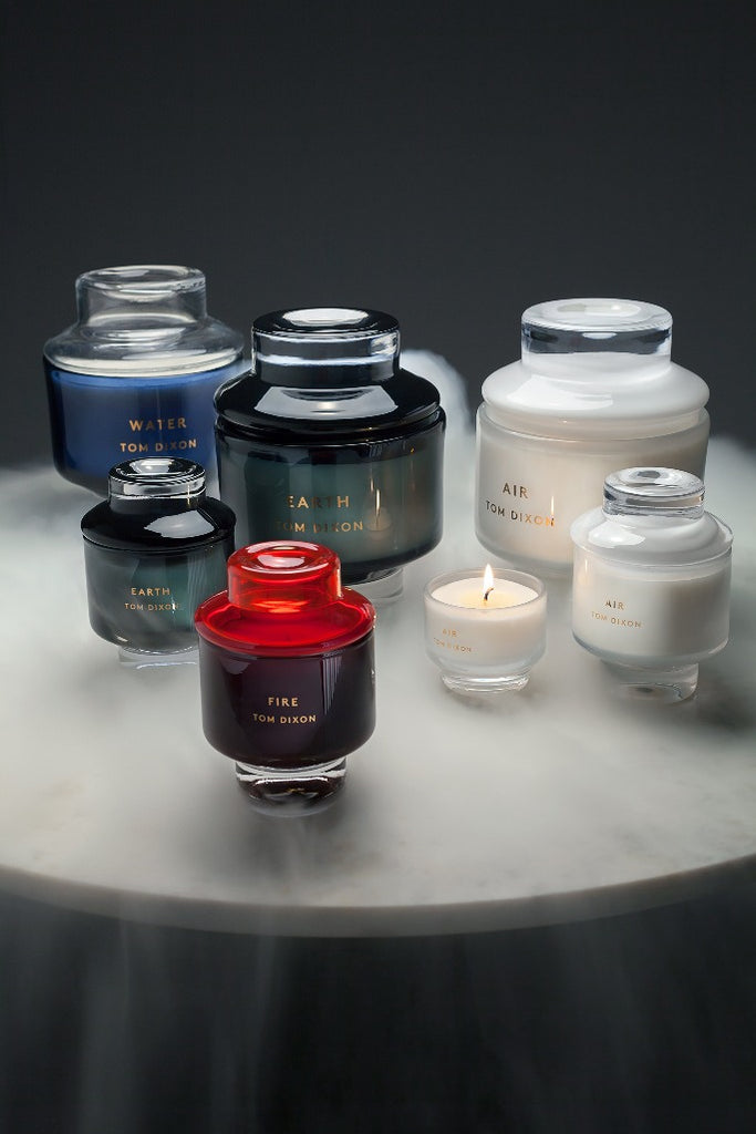 Tom Dixon, Elements Earth, Air, Fire, Water, scented candle, black, white, red, blue, illatgyertya, fekete, fehér, piros, kék