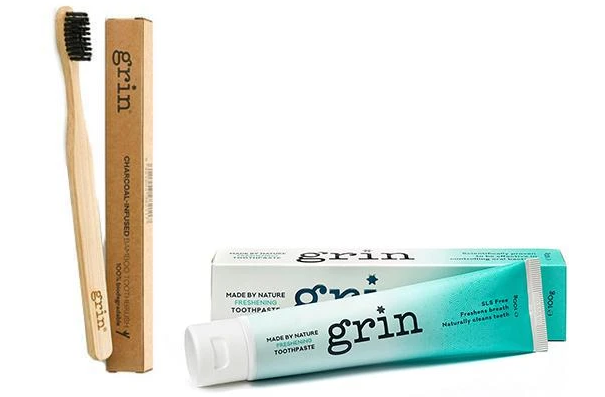 Grin Freshening Toothpaste & Bamboo Toothbrush Set
