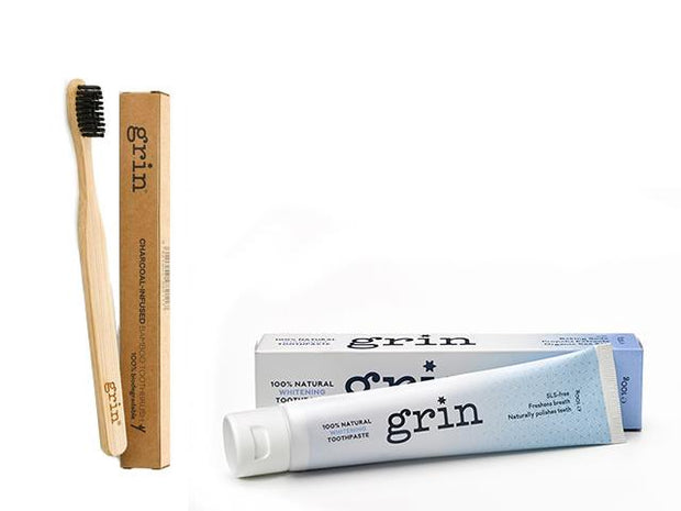 Grin Whitening Toothpaste & Bamboo Toothbrush Set