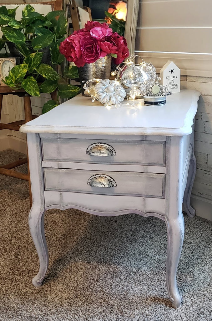 Side Table Makeover With Gilded Cup Pull Hardware