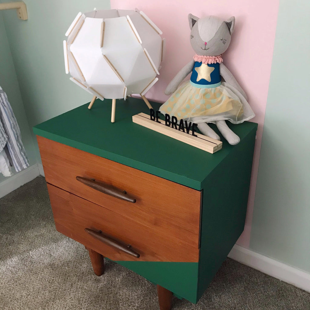 DIY Geometric Nightstand | Using One Step Paint