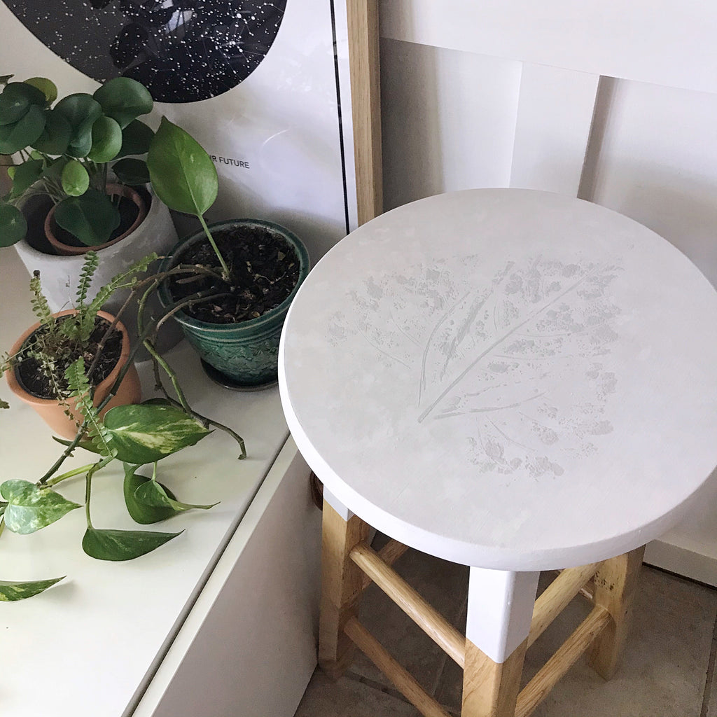 Faux White Concrete Stool with Leaf Print