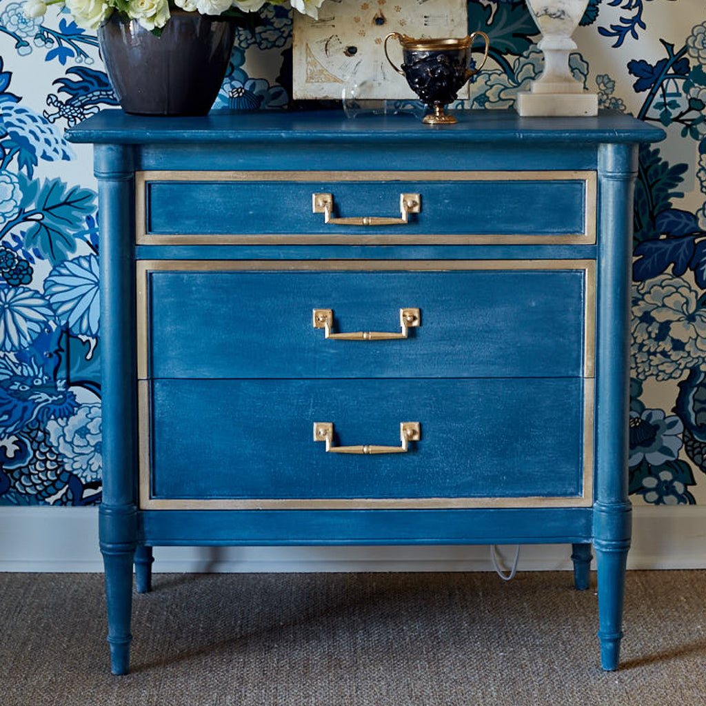 DIY Blue and Gold Dresser Makeover