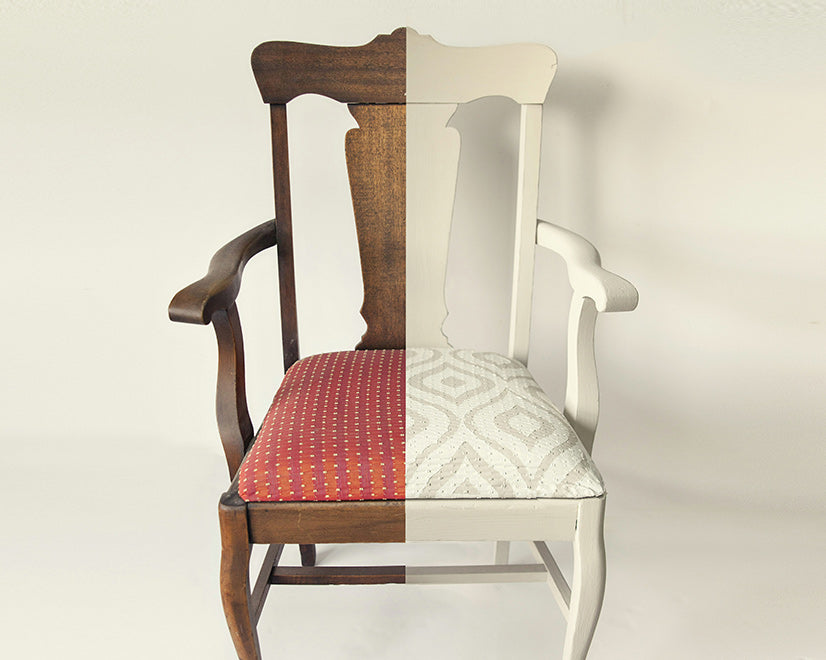 PAINTED CHAIR AND FABRIC CUSHION