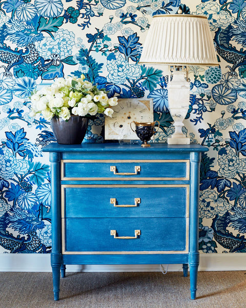 DIY Blue and Gold Dresser Makeover with Amy Howard at Home
