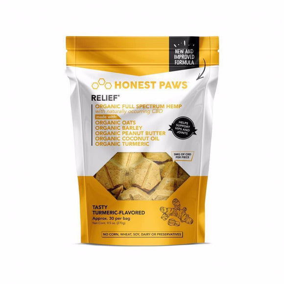 Honest Paws Relief CBD Dog Treats(Tasty Tumeric)