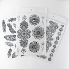Load image into Gallery viewer, 1 Set Left | Henna Crown Temporary Tattoos - 4 Black Sheets