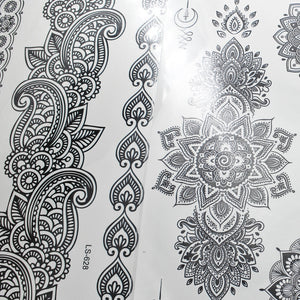 1 Set Left | Henna Crown Temporary Tattoos - 4 Black Sheets