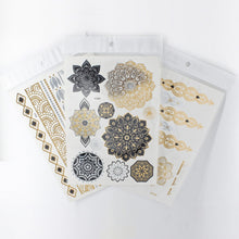 Load image into Gallery viewer, Sold Out | Henna Crown Temporary Tattoos - 4 Metallic Sheets