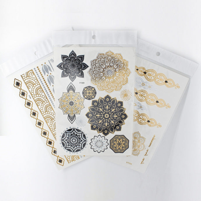 2 Sets Left | Henna Crown Temporary Tattoos - 4 Metallic Sheets