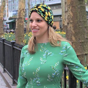 Lemon Print Loop Cotton Turban