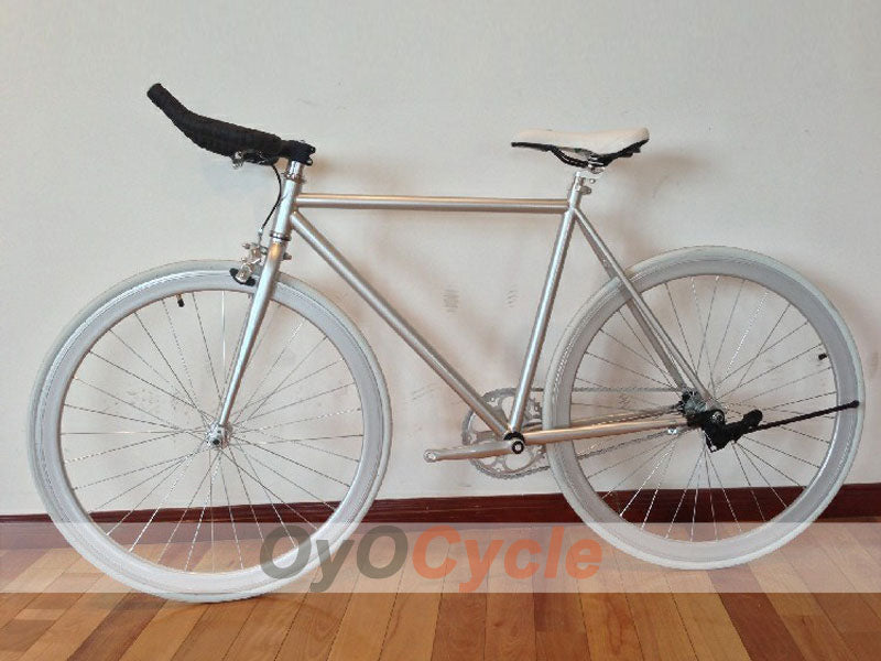 Fixed Gear Bike Horn Handlebars Silver Wheel and Silver Frame