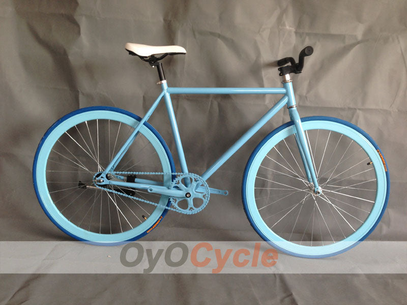Fixed Gear Bike Curved Handlebars Blue Wheel and Blue Frame