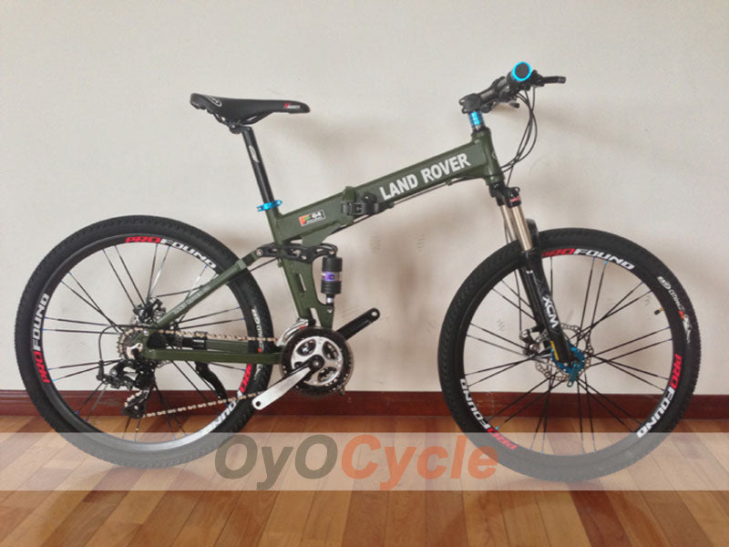 Army Green Folding Mountain Bike Double Damping & Double Disc Brake & Suspension Bicycle Spoke Wheel - LAND ROVER