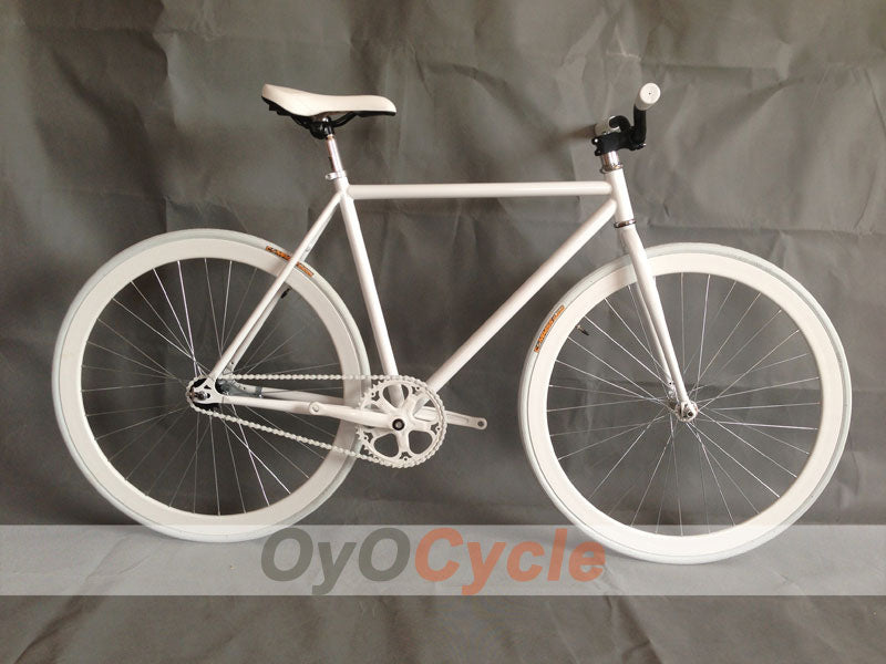 Fixed Gear Bike Curved Handlebars White Wheel and White Frame