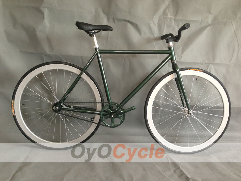 Fixed Gear Bike Curved Handlebars White Wheel and ArmyGreen Frame