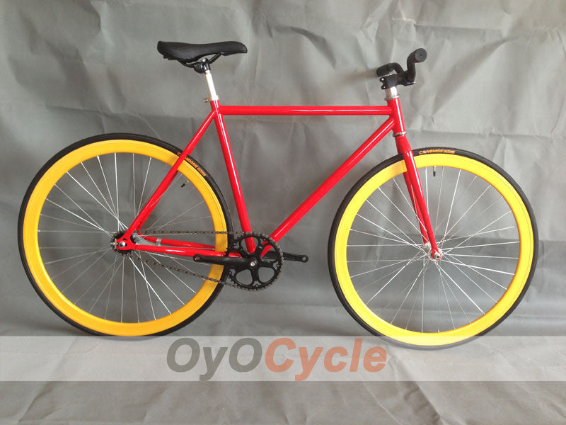 Fixed Gear Bike Curved Handlebars Gold Wheel and Red Frame