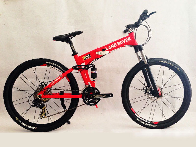 Red Folding Mountain Bike Double Damping & Double Disc Brake & Suspension Bicycle Spoke Wheel - LAND ROVER
