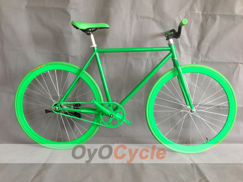 Fixed Gear Bike Curved Handlebars Green Wheel and Green Frame