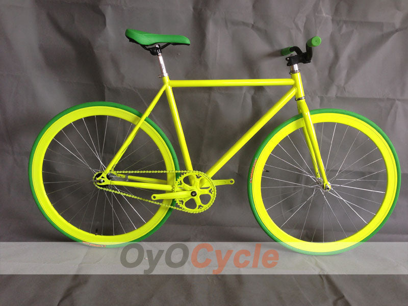 Fixed Gear Bike Curved Handlebars Yellow Wheel and Yellow Frame