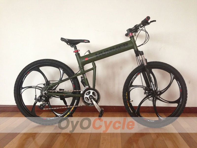 ArmyGreen Folding Mountain Bike Double Damping & Double Disc Brake & Suspension Bicycle Integrated Wheel - HUMMER