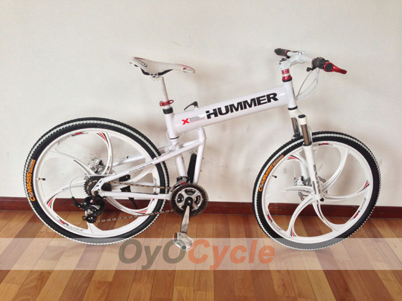 White Folding Mountain Bike Double Damping & Double Disc Brake & Suspension Bicycle Integrated Wheel - HUMMER