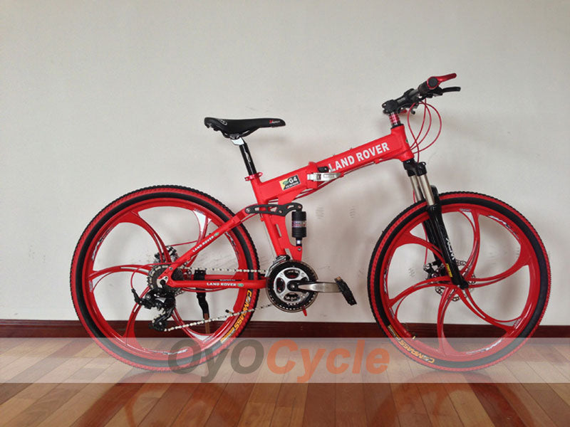 Red Folding Mountain Bike Double Damping & Double Disc Brake & Suspension Bicycle Integrated Wheel - LAND ROVER
