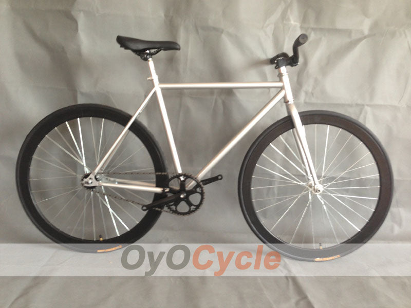 Fixed Gear Bike Curved Handlebars Black Wheel and Silver Frame
