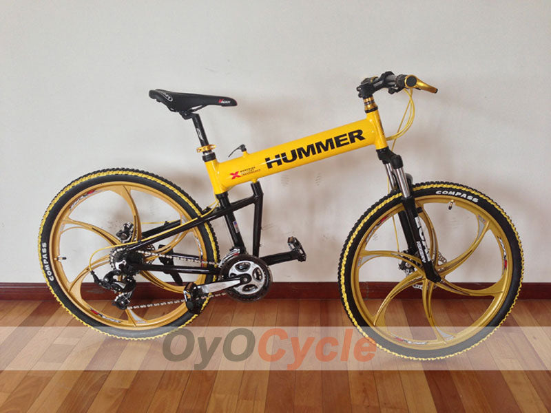 Yellow Folding Mountain Bike Double Damping & Double Disc Brake & Suspension Bicycle Integrated Wheel - HUMMER