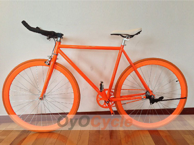 Fixed Gear Bike Horn Handlebars Orange Wheel and Orange Frame