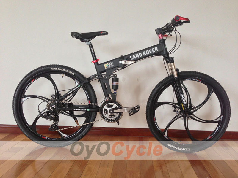 Black Folding Mountain Bike Double Damping & Double Disc Brake & Suspension Bicycle Integrated Wheel - LAND ROVER