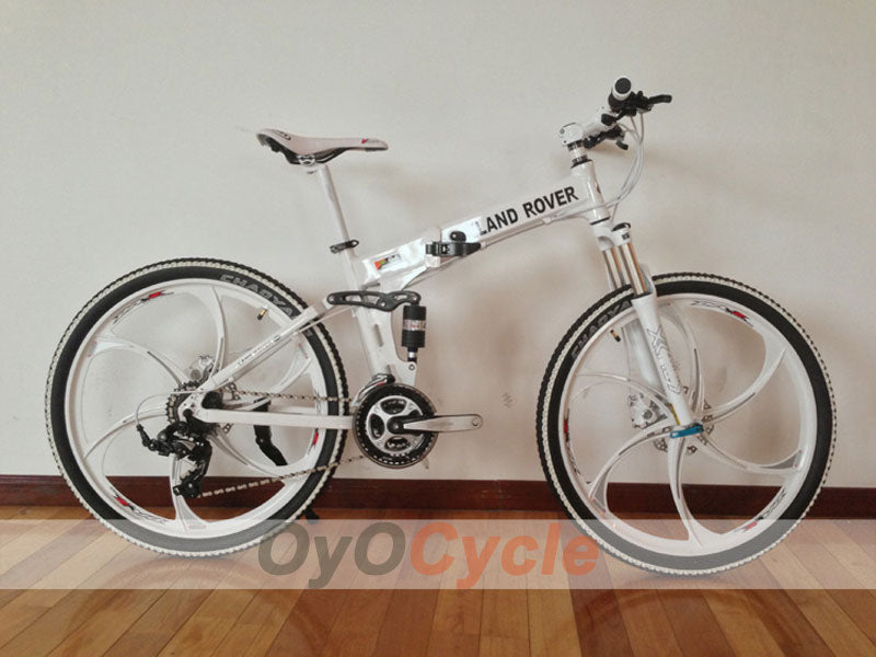 White Folding Mountain Bike Double Damping & Double Disc Brake & Suspension Bicycle Integrated Wheel - LAND ROVER