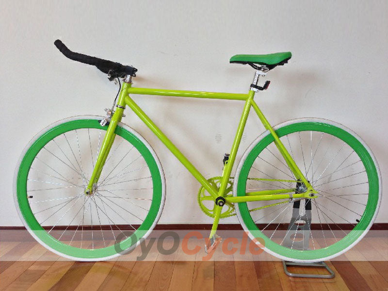 Fixed Gear Bike Horn Handlebars Green Wheel and Green Frame