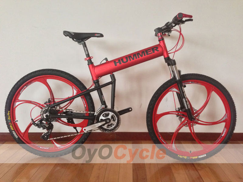 Red Folding Mountain Bike Double Damping & Double Disc Brake & Suspension Bicycle Integrated Wheel - HUMMER
