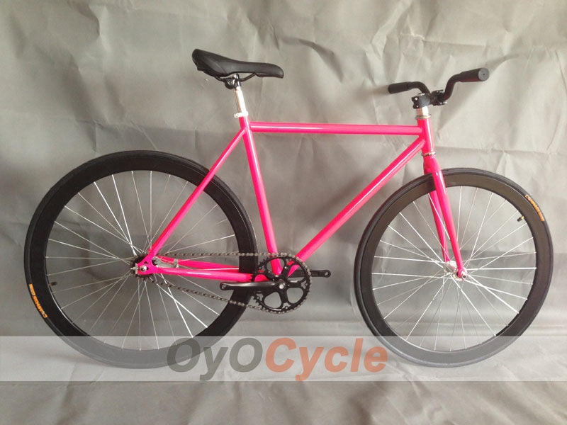 Fixed Gear Bike Curved Handlebars Black Wheel and Pink Frame