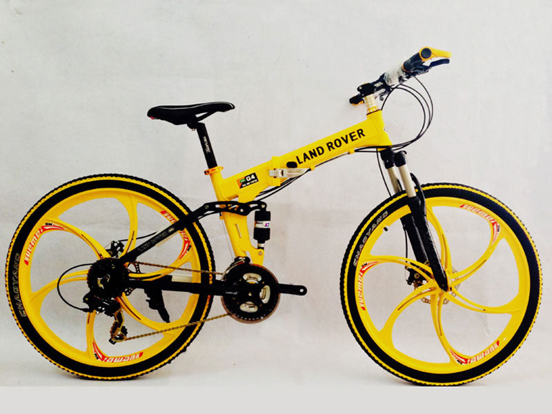 Yellow Folding Mountain Bike Double Damping & Double Disc Brake & Suspension Bicycle Integrated Wheel - LAND ROVER