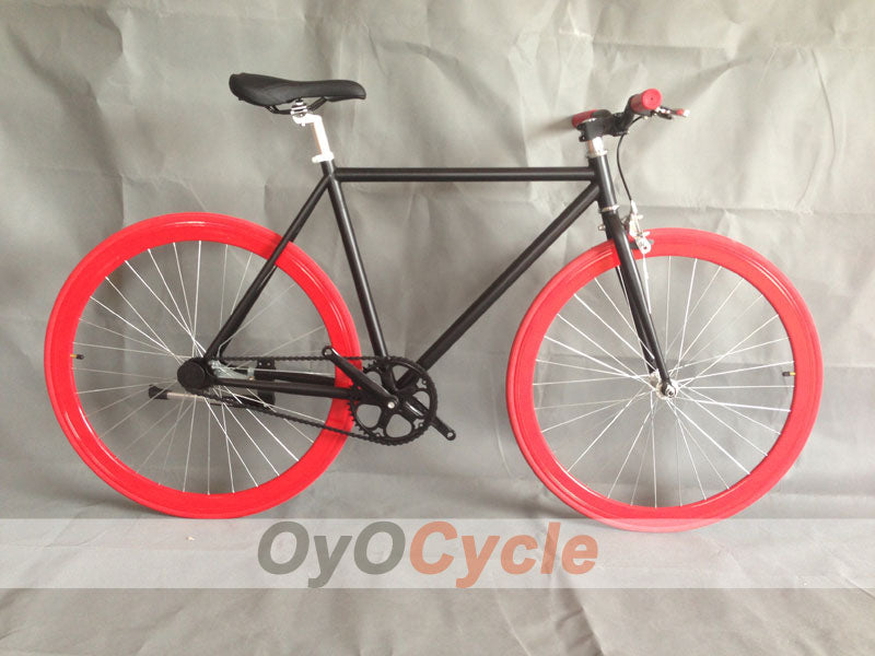 Fixed Gear Bike Curved Handlebars Red Wheel and Black Frame