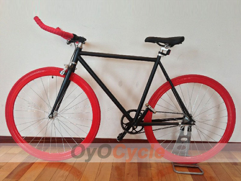 Fixed Gear Bike Horn Handlebars Red Wheel and Black Frame
