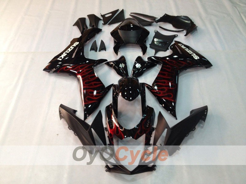 Injection ABS Fairing kit For Suzuki GSXR600 2011-2016 - Red, Black - Flame