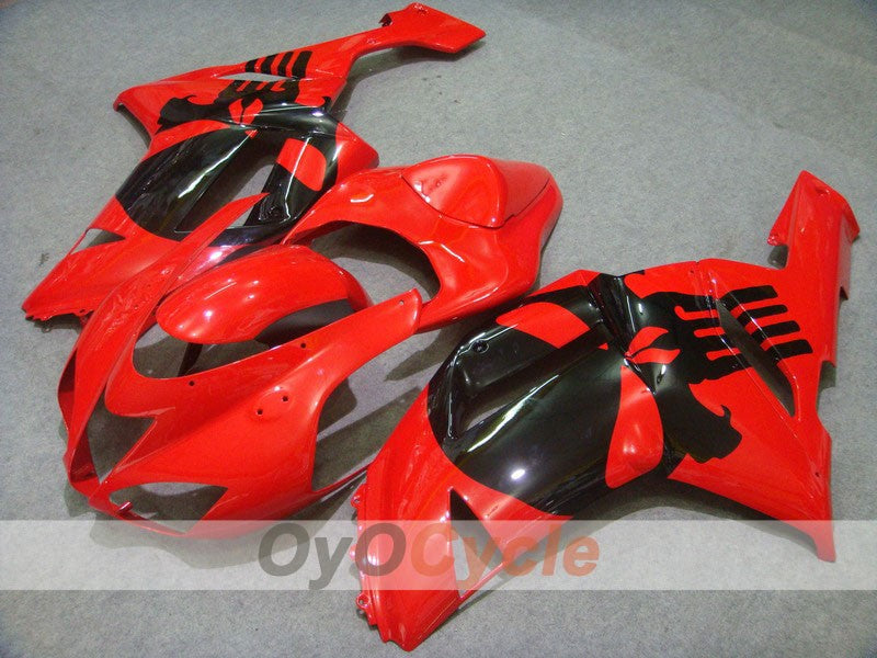 Injection ABS Fairing kit For Kawasaki NINJA ZX-6R 2007-2008 - Red, Black - Factory Style