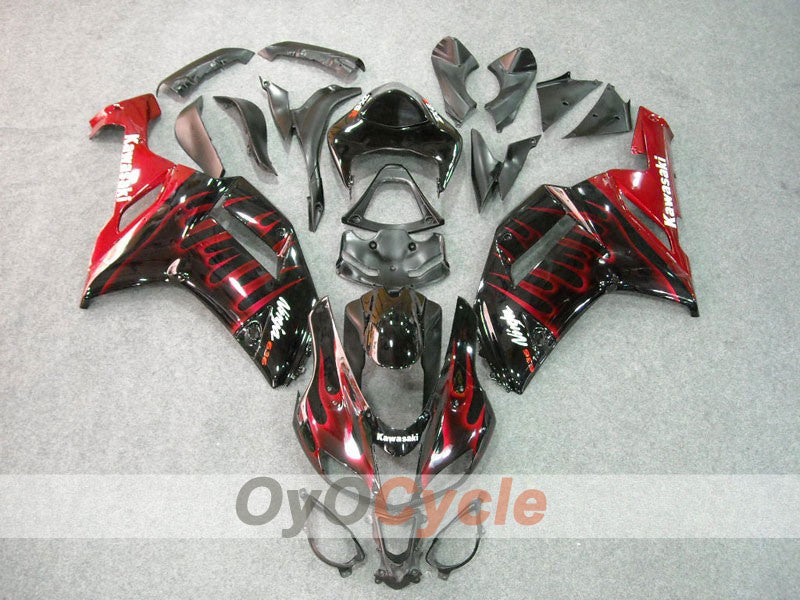 Injection ABS Fairing kit For Kawasaki NINJA ZX-6R 2007-2008 - Red, Black - Flame