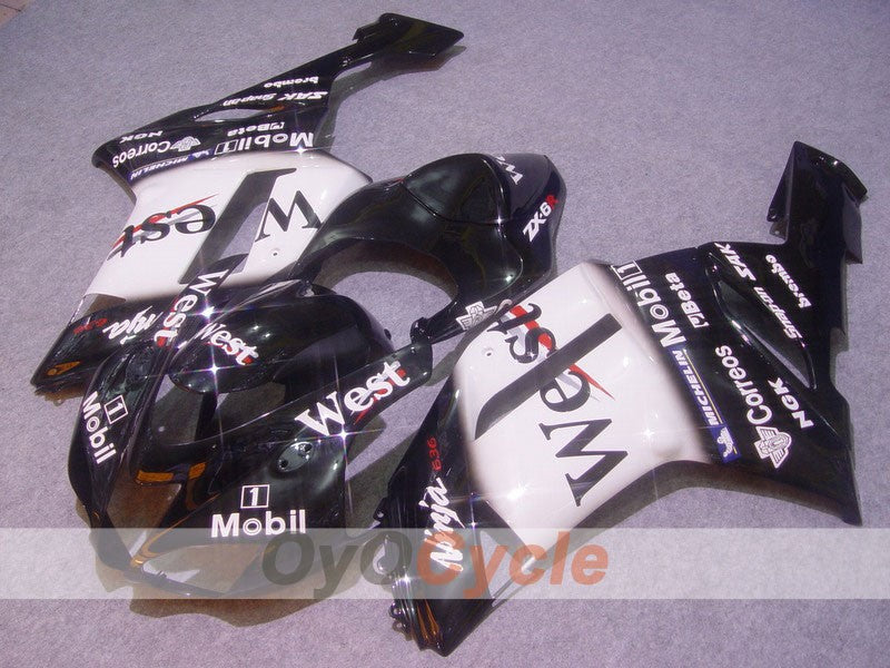 Injection ABS Fairing kit For Kawasaki NINJA ZX-6R 2007-2008 - White, Black - West