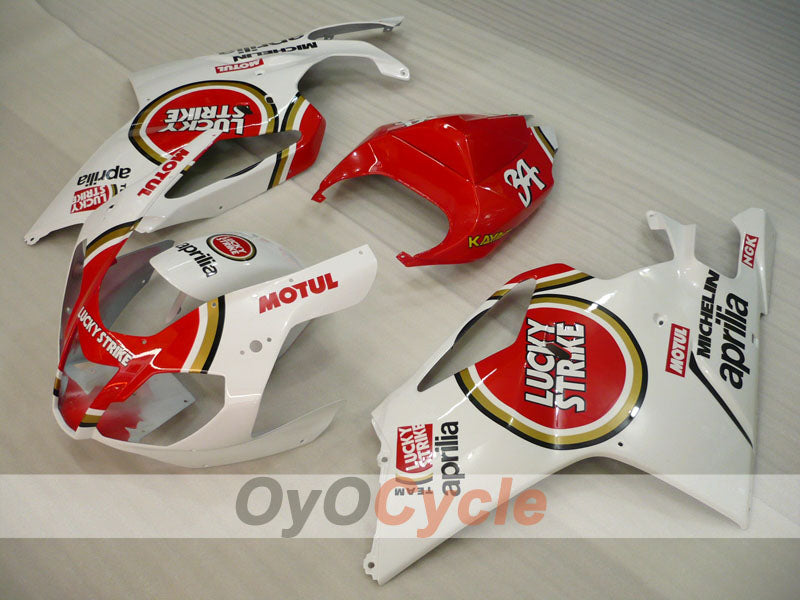 Injection ABS Fairing kit For Aprilia RSV 1000 R 2003-2006 - Red, White - Lucky Strike, MOTUL
