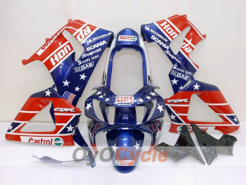 Injection ABS Fairing kit For Honda CBR929RR 2000-2001 - Red Blue - Castrol
