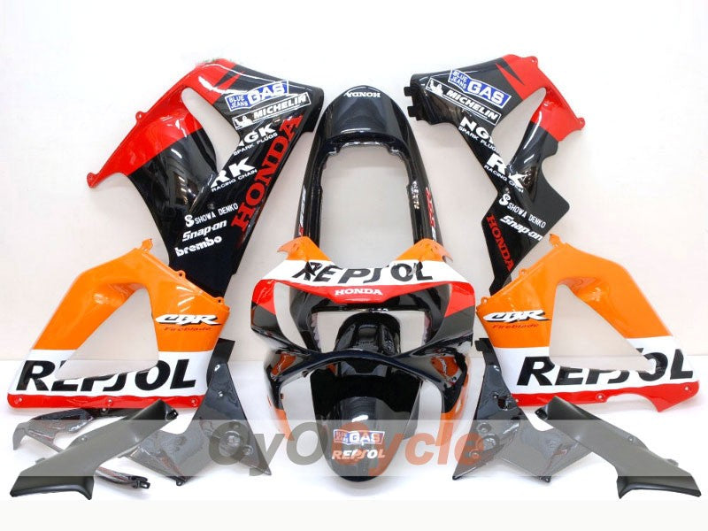Injection ABS Fairing kit For Honda CBR929RR 2000-2001 - Orange Black - MICHELIN, Repsol