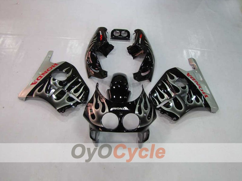Injection ABS Fairing kit For Honda CBR250RR 1990-1994 - Black, Silver - Flame