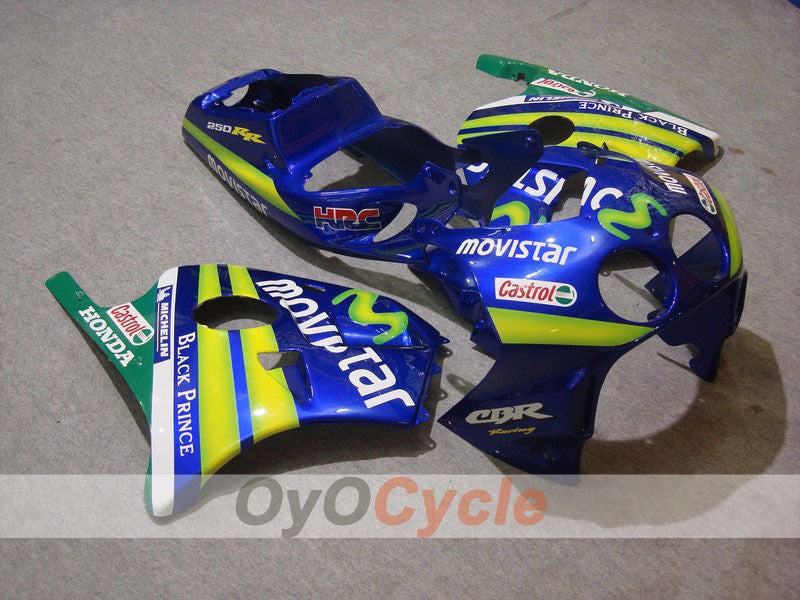 Injection ABS Fairing kit For Honda CBR250RR 1990-1994 - Green, Blue - Movistar