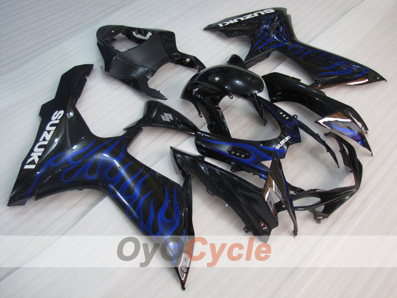Injection ABS Fairing kit For Suzuki GSXR600 2011-2016 - Blue, Black - Flame