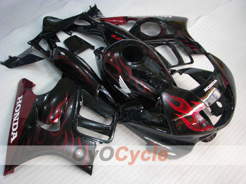 Injection ABS Fairing kit For Honda CBR600F3 1997-1998 - Red Black - Flame