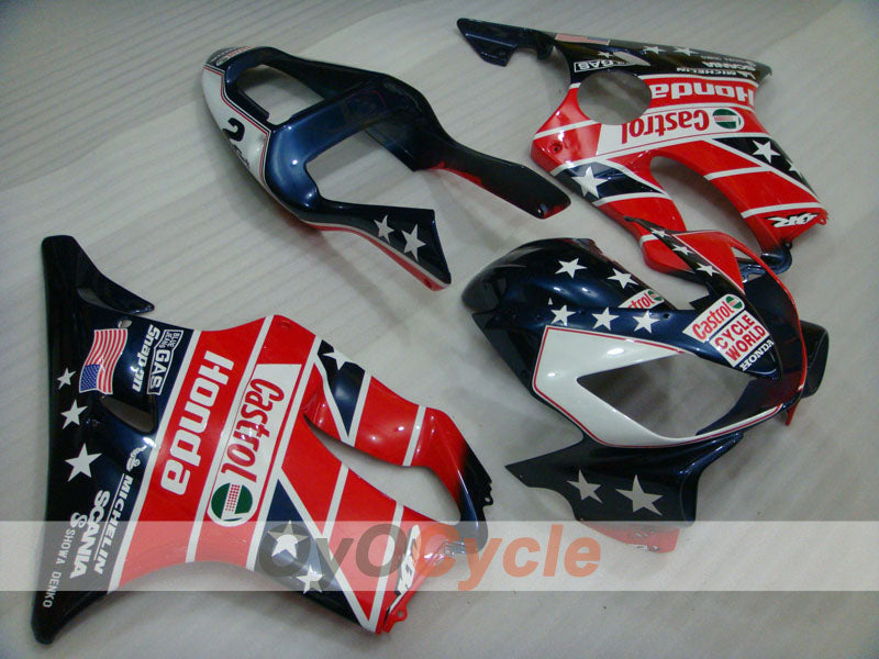 Injection ABS Fairing kit For Honda CBR600F4i 2001-2003 - Red Blue - Castrol
